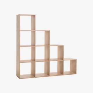 Vue de trois-quarts de l'étagère STOW 10 cases