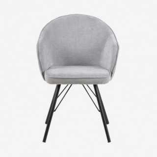 Vue de face de la chaise AZIE avec pied métallique noir