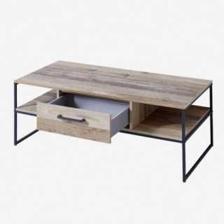 Vue de trois-quarts de la table basse NOLD avec tiroirs et portes ouvertes