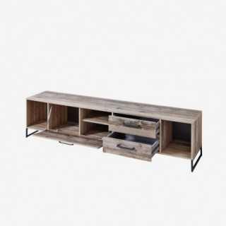 Vue de trois-quarts du meuble TV NOLD avec tiroirs et portes ouvertes
