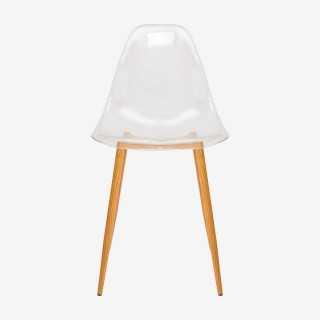 Vue de face de la chaise MAHO transparente