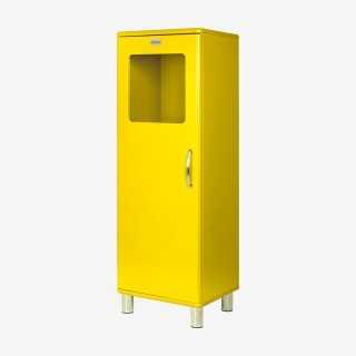 Vue de trois-quarts de la colonne vitrée MALIBU jaune
