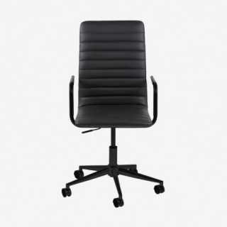Vue de face du fauteuil de bureau ASLOW noir