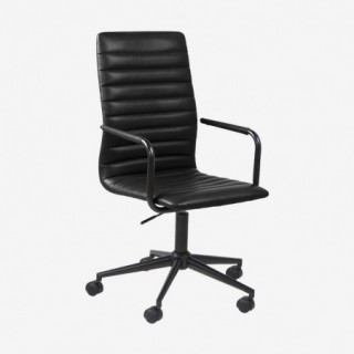 Vue de trois-quarts du fauteuil de bureau ASLOW noir