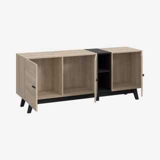 Vue de trois-quarts du meuble TV FAREA