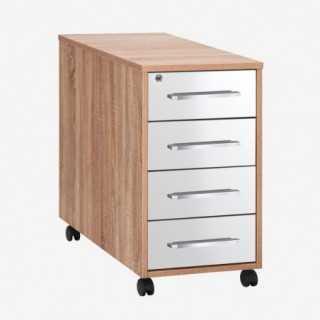 Vue de trois-quarts du caisson de rangement 4 tiroirs SYSTEM chêne sonoma et tiroirs blanc