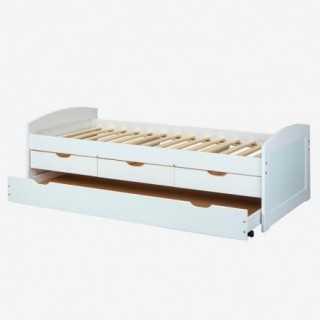 Vue de trois-quarts du lit PAUL avec tiroirs
