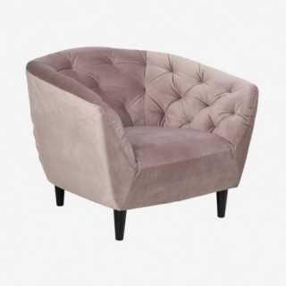 Vue de trois-quarts du fauteuil ALOVA rose poudré